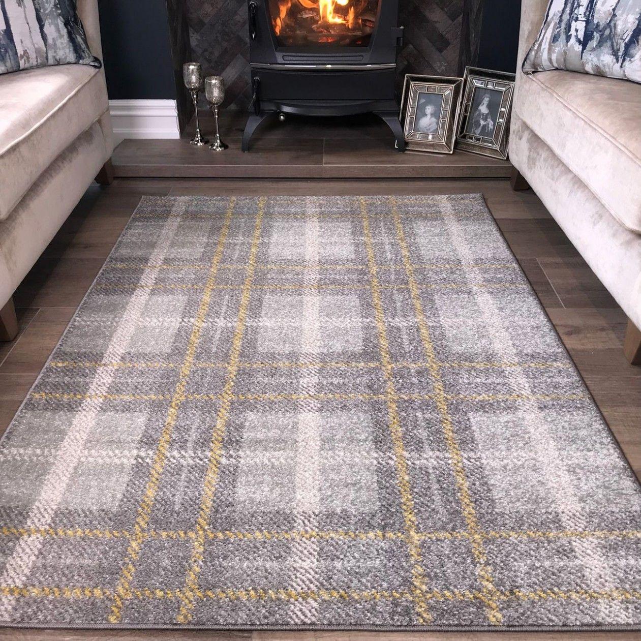 Modern Grey Ochre Check Tartan Living Room Rugs Bombay Grey Tartan Carpet Living Room