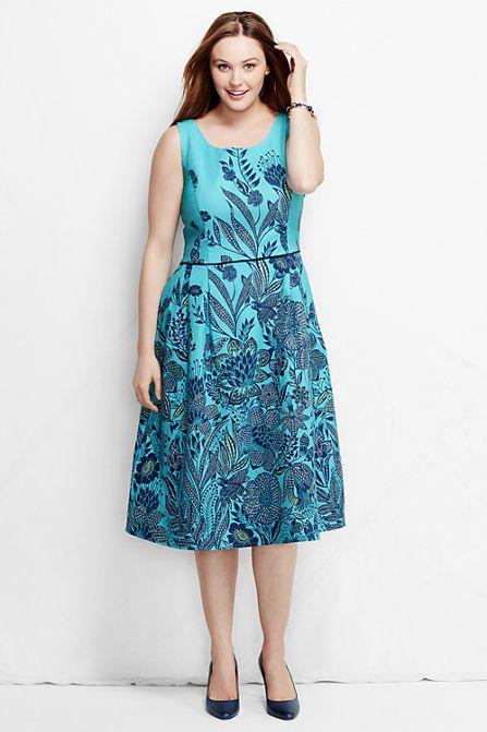Women\'s Plus Size Scoop Back A-line Dress - Pattern from Lands\' End ...