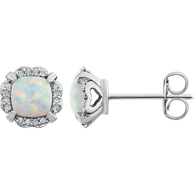 14k White Gold Cushion Created Opal 1 10 Ctw Diamond Halo Earrings 귀걸이
