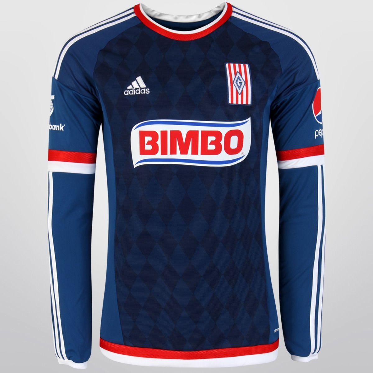 Guadalajara Chivas Jersey 2015 16 Away Blue LS Soccer Shirt  0181c2c6c