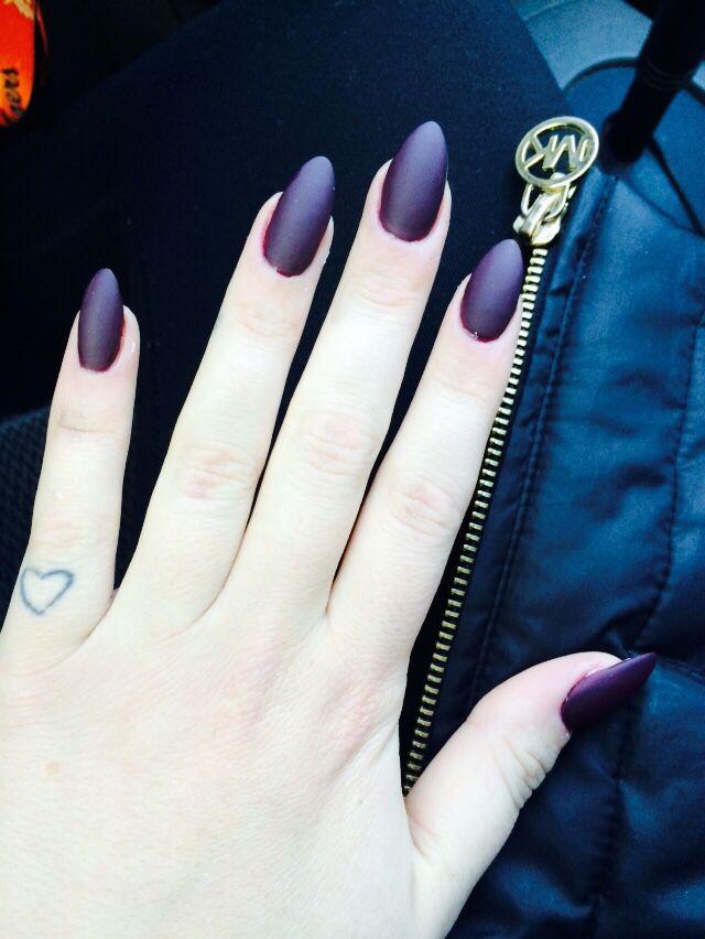 purple matte almond nails in love