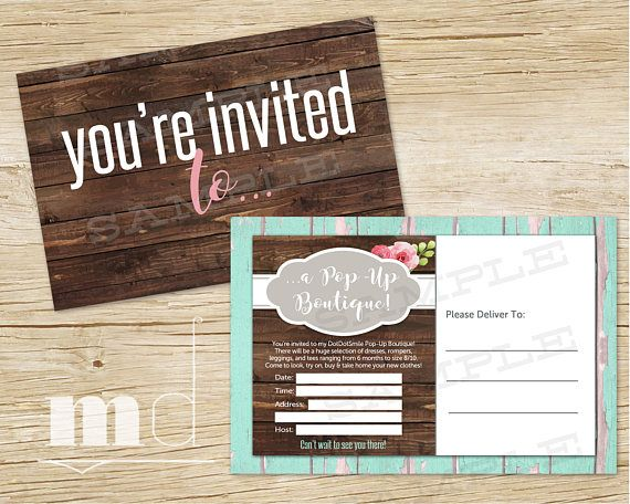 dotdotsmile pop up boutique invite custom dds party event invitation dot dot smile consultant