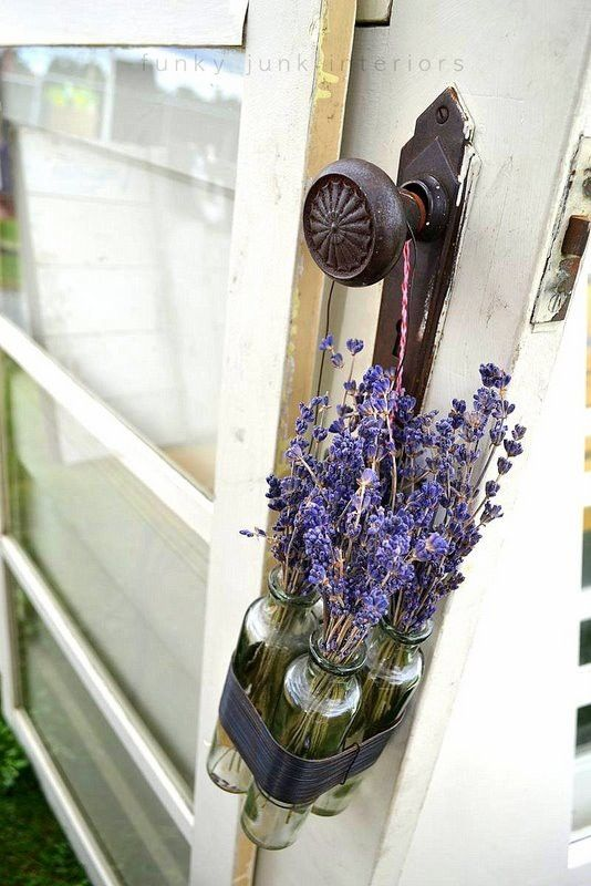 love the lavender jars hanging from the doorknob