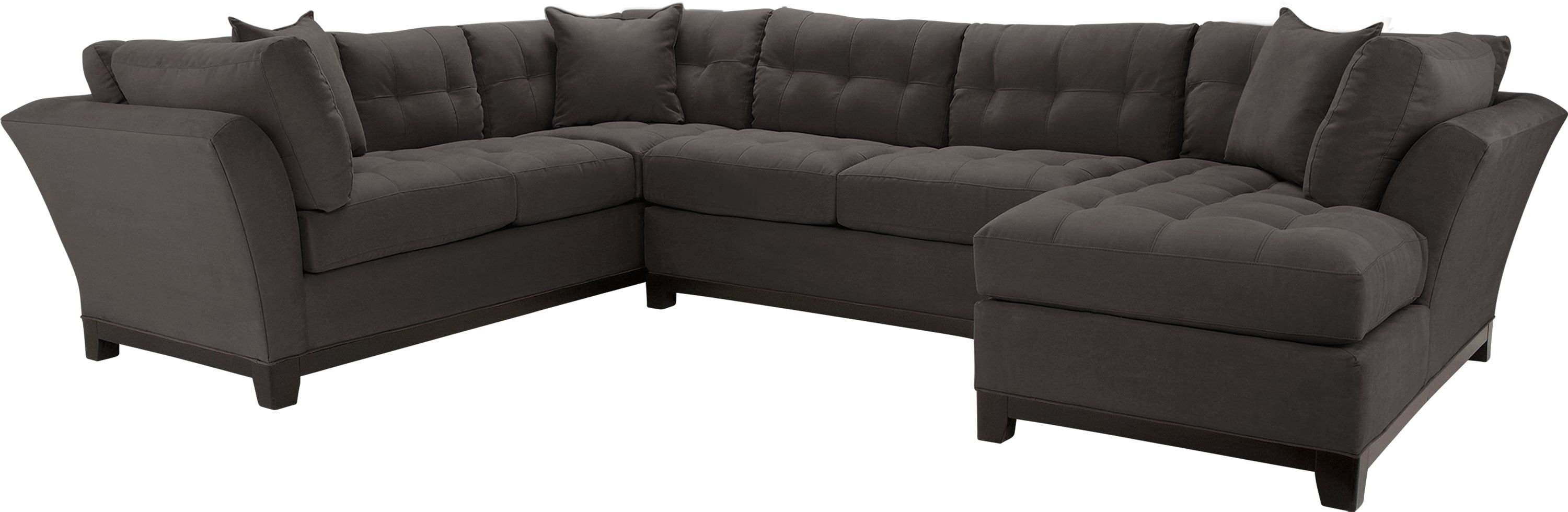 Cindy Crawford Home Metropolis Slate 3 Pc Sectional Comfy Couch In