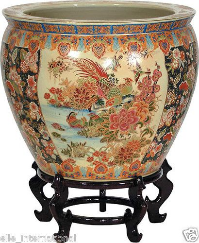 Japanese Good Luck Porcelain Fish Bowl W Goldfish Hand Paint Stand