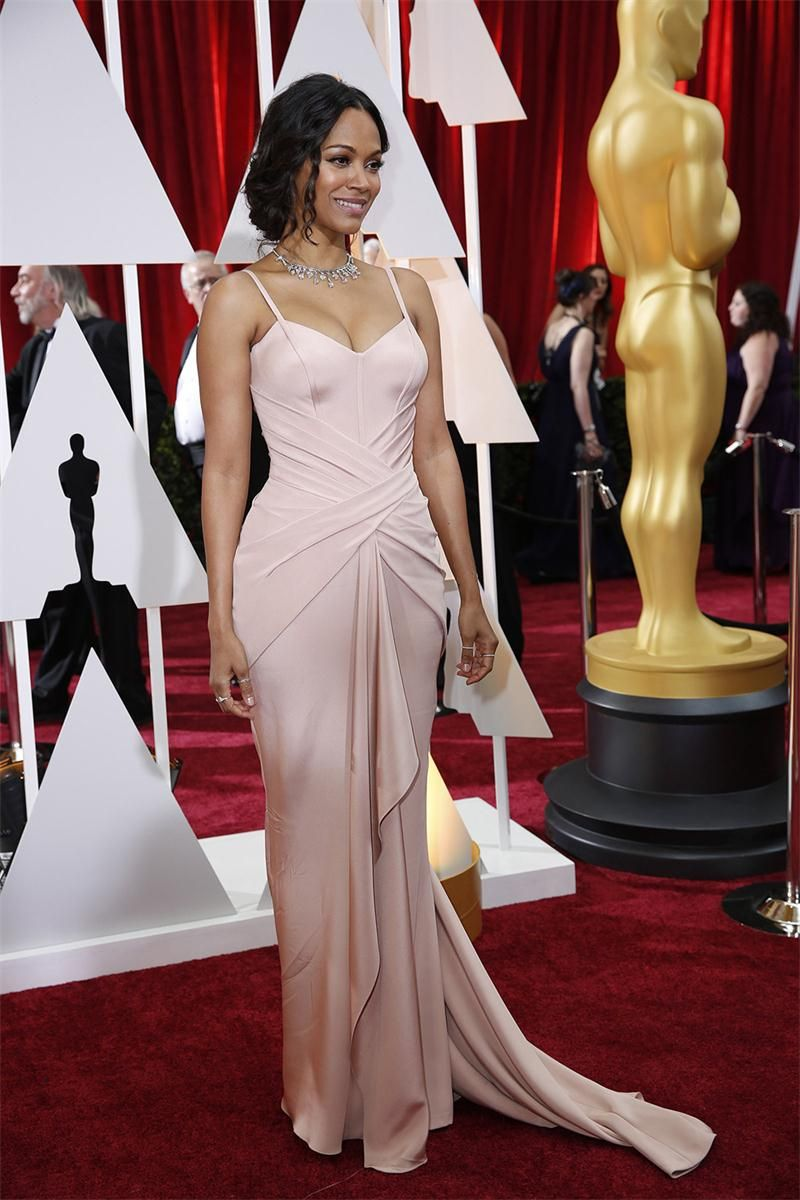 ced9f7d619 Click to Buy    Zoe Saldana Oscar Red Carpet Gowns 2017 Sexy Light ...