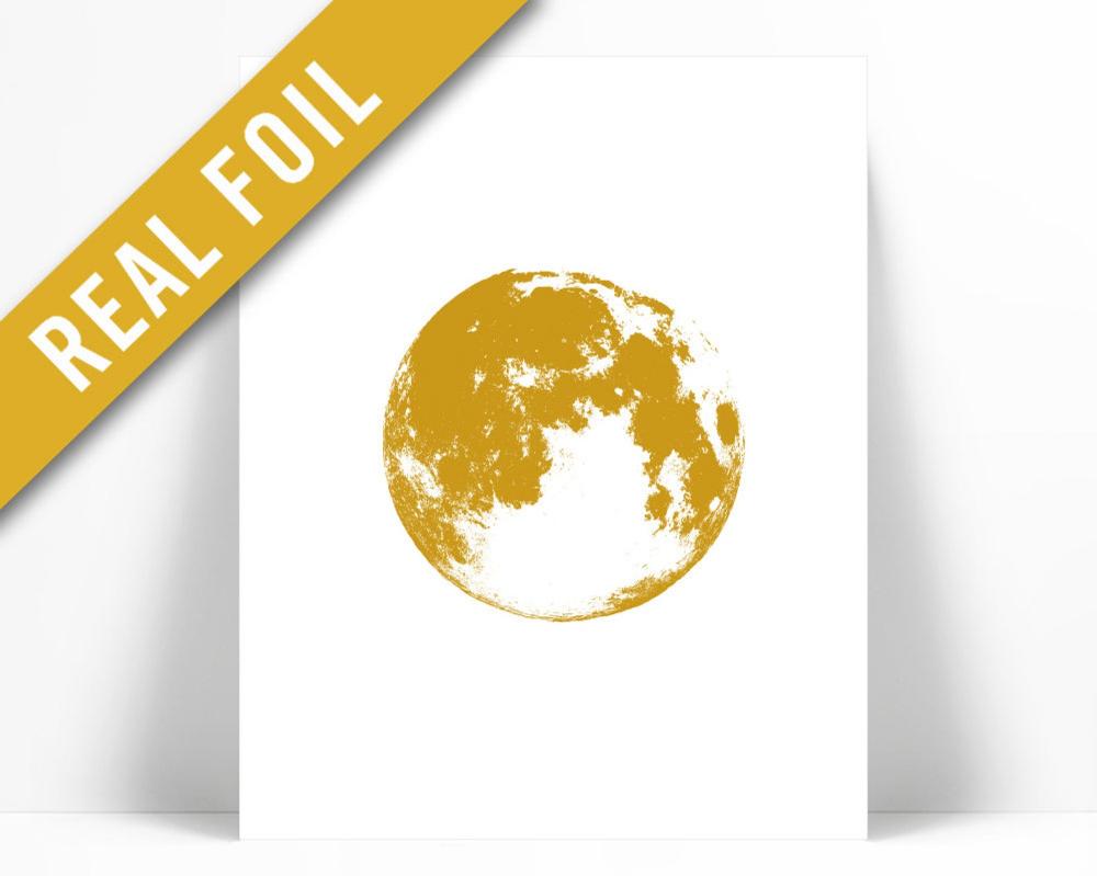 Full Moon Print - Gold Foil Print - Full Moon Poster - Astronomy Poster - Moon Illustration - Space Poster - Science Art - Celestial Print