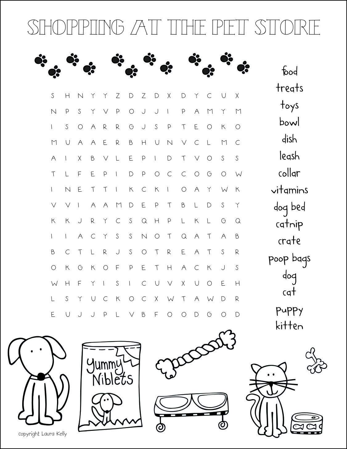 Pet Store Word Search