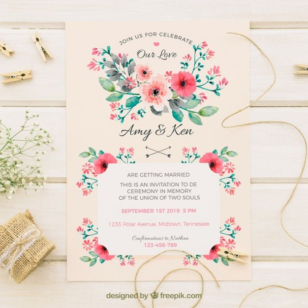 Download Vintage Wedding Invitation With Watercolor Flowers For