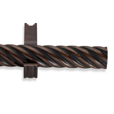 Cambria Estate Wood 54 Inch Single Twisted Curtain Rod In