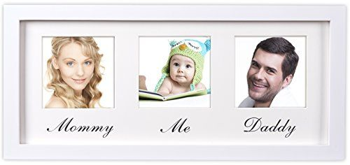 Mommy Daddy Me Frame White  Solid Wood Wall Hanging Picture frame  Fits Standard 4x6 Photos  First Family Picture Frame  Ideal Gift for New Parents ** Read more  at the image link.
