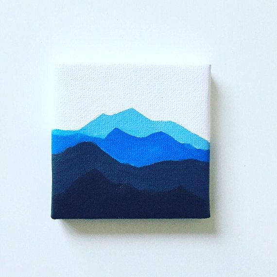 Mini Canvas Painting with Easel stand, Blue mountain painting, Acrylic on Canvas painting, mini art gifts, Mothers Day Gift