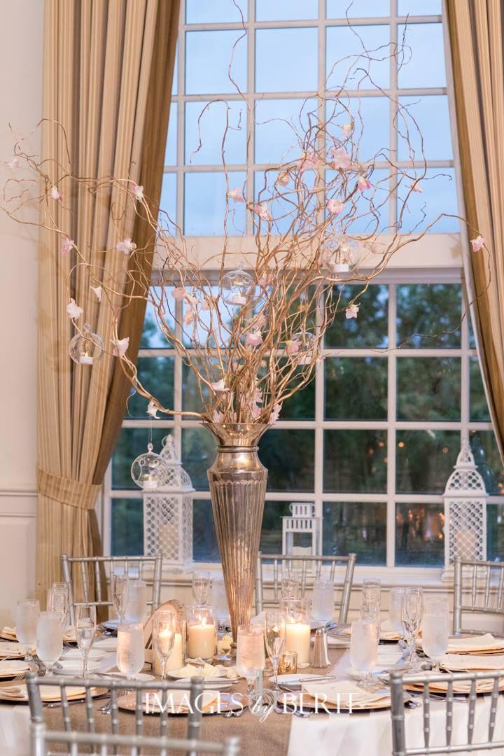 May Wedding Centerpiece Pillar Candles Silver Vase Gold
