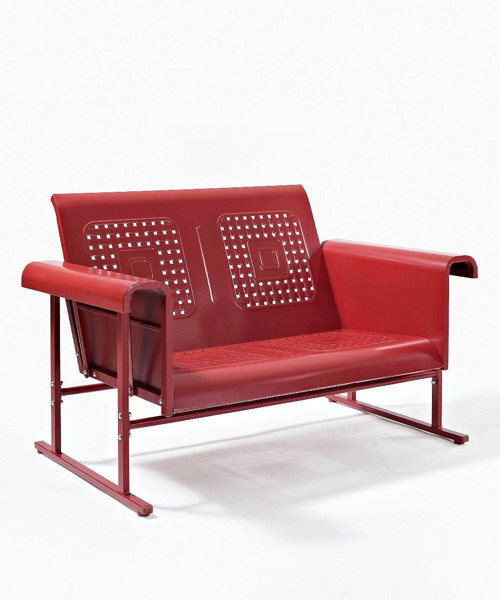 Coral Red Veranda Love Seat Glider | Vintage metal gliders ...