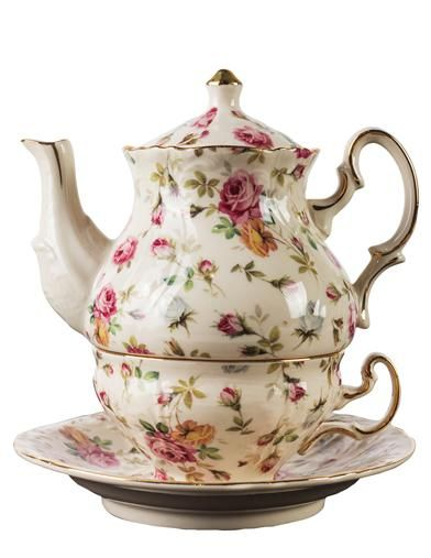 Elizabeth Park Chintz Tea for One | Rose Print Tea Set #teasets