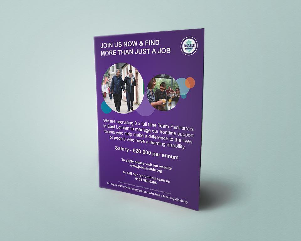 Morethanajob Flyers East Lothian Flyer Handouts For Promoting Enable Scotland S Recruitment Service Morethanajob Across Life Learning Flyer Handouts