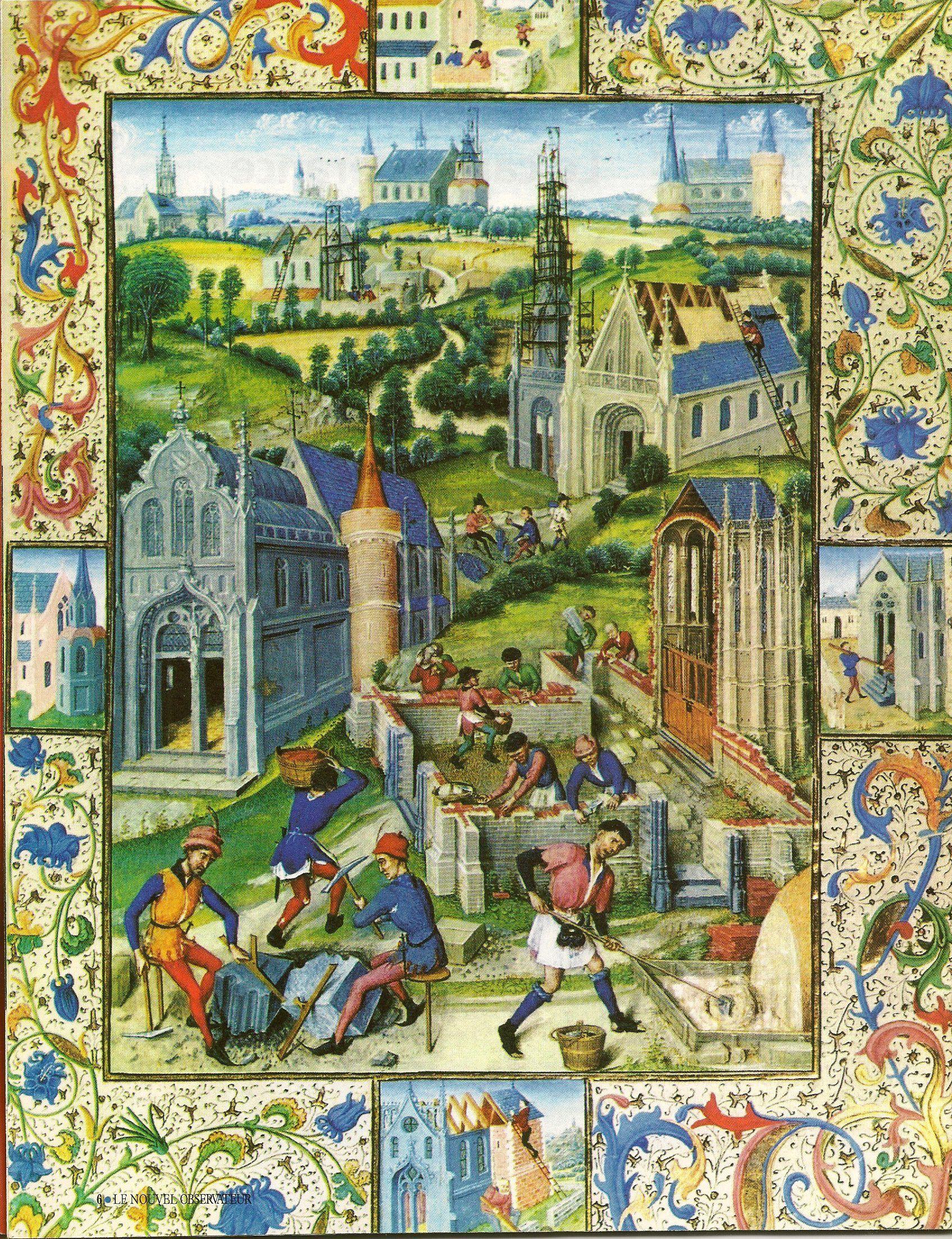 Miniature du XIIIe siecle representant la construction d'une eglise a  Saint-Denis | Enluminure moyen age, Artisanats médiévaux, Moyen age