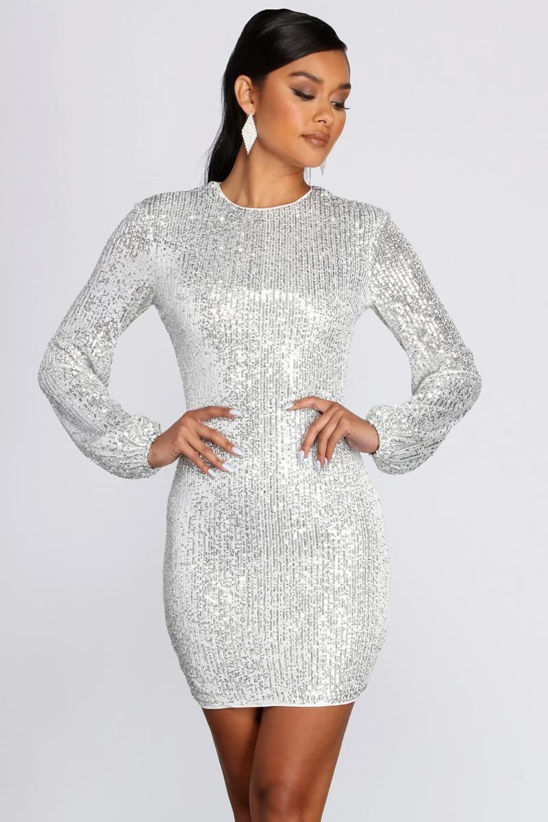 Long Sleeve Sequin Mini Dress In 2021 Long Sleeve Sequin Sequin Holiday Dress Dresses [ 1200 x 800 Pixel ]