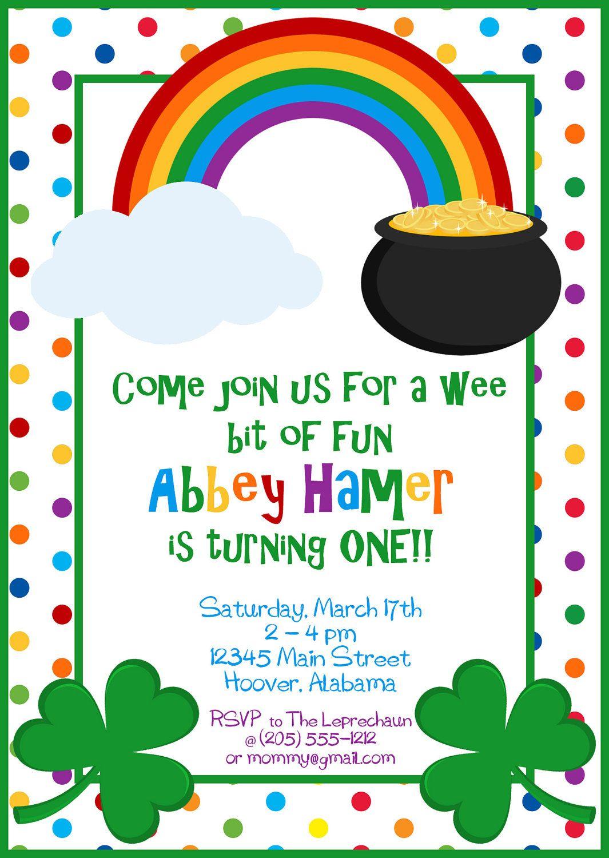 St Patricks Day Rainbow & Shamrock Party Invitation DIY DIGITAL ...