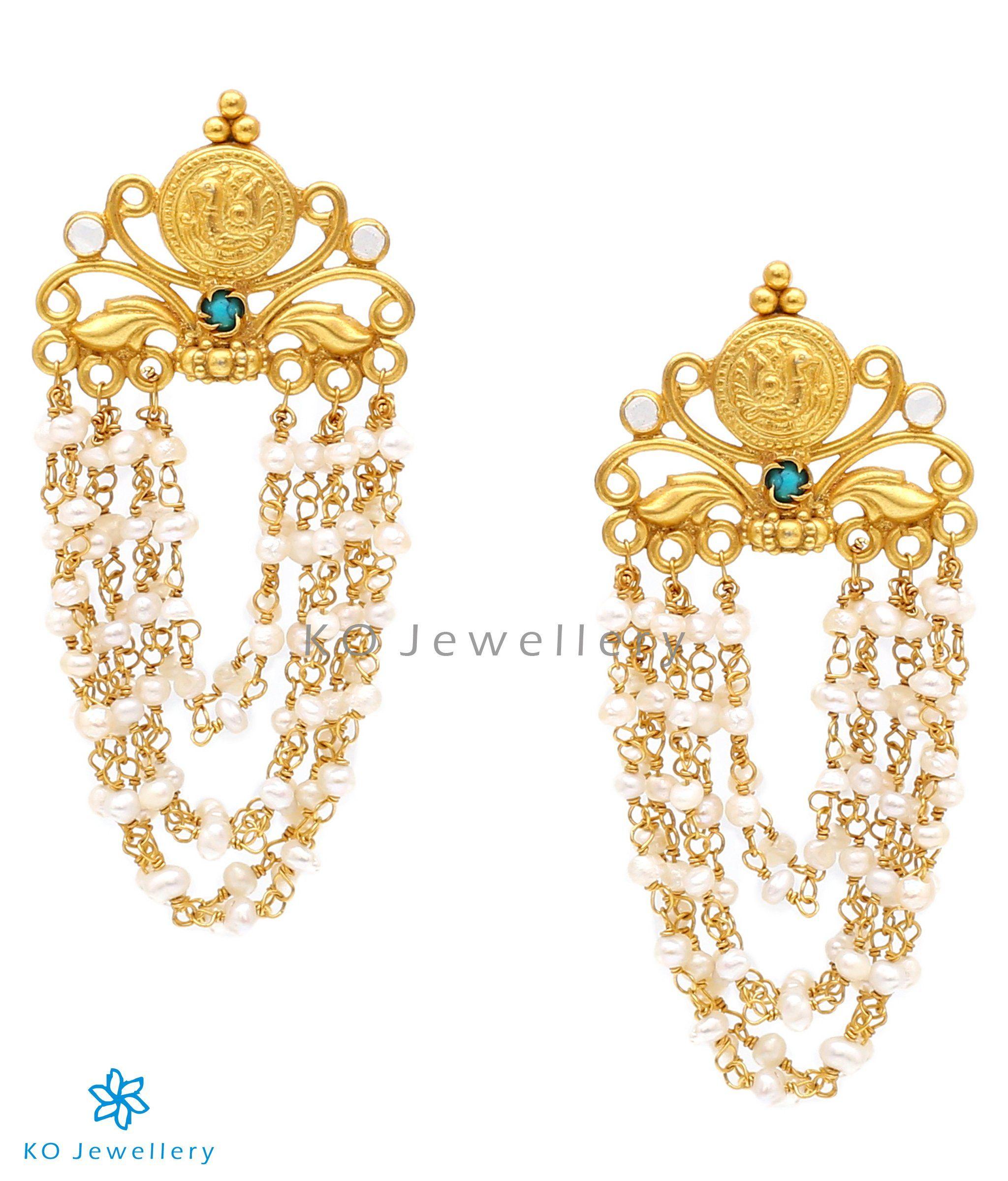 337ecc2eb The Panch-lada Silver Pearl Earrings-Order pure silver jadau set online - KO  Jewellery