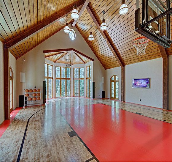 Lakefront Dream Home Lists With Indoor Tree House Photos Home Basketball Court Indoor Tree House Indoor Basketball Court