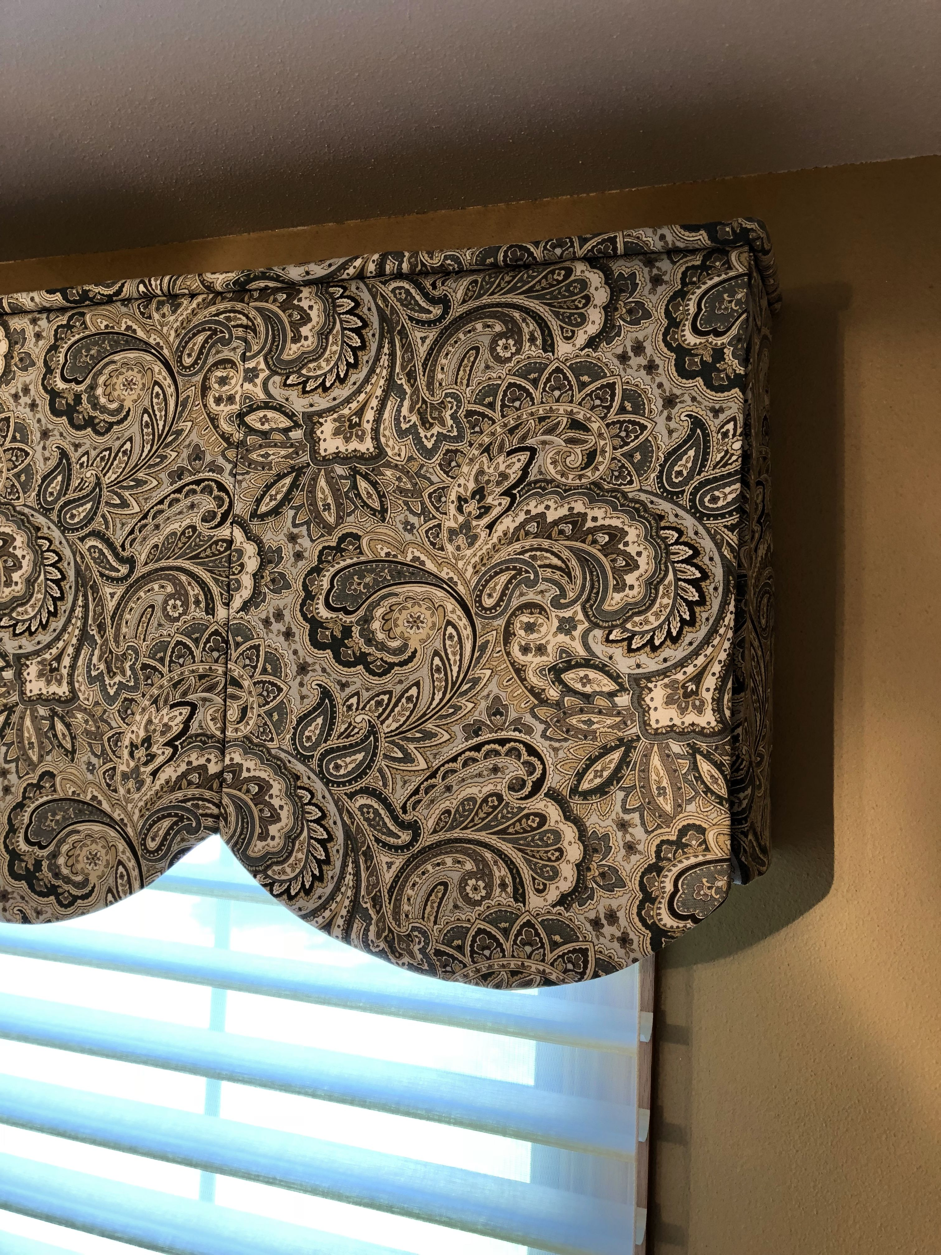 Paisley Scalloped Valance For An Office In Pleasant