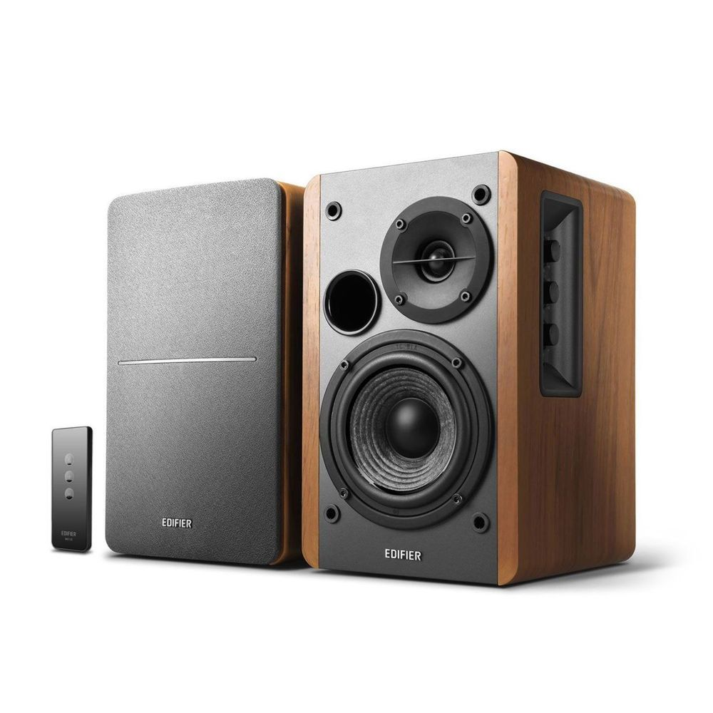 powered bookshelf studio monitor speaker wooden remote control audio