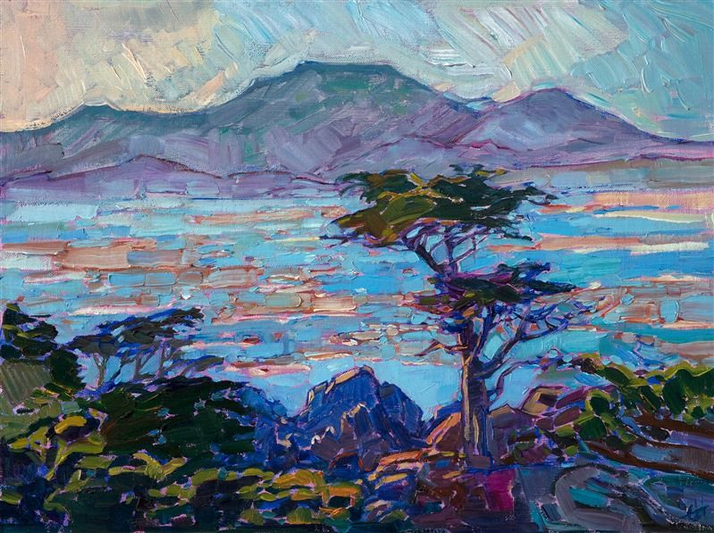 Original Impressionistic Oil Painting Of Pebble Beach California By Contemporary Ca Contemporary Landscape Painting Landscape Paintings Oil Painting Landscape
