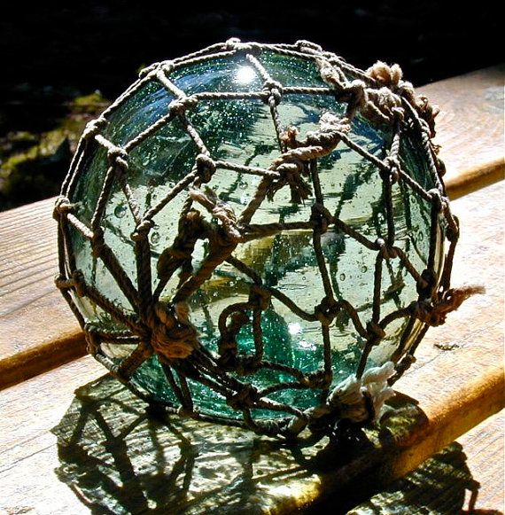 Glass Fishing Float Collectible Sea Fortune Netted Antique Nautical Decor Home Decor
