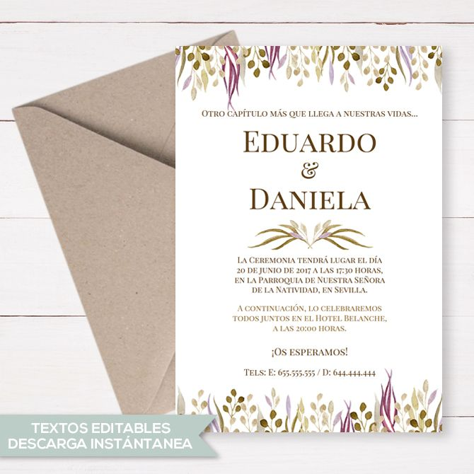 Vector Hermosas Flores Purpura Invitaciones De Boda, Flores De Color