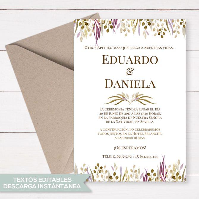 Invitación De Boda Imprimible Invitaciones De Boda