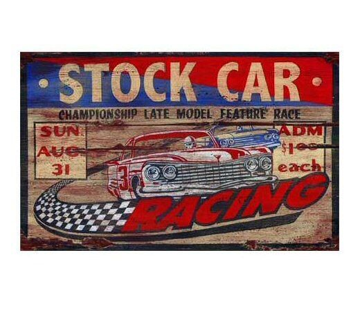 Custom Large Stock Car Racing Vintage Style Wooden Sign