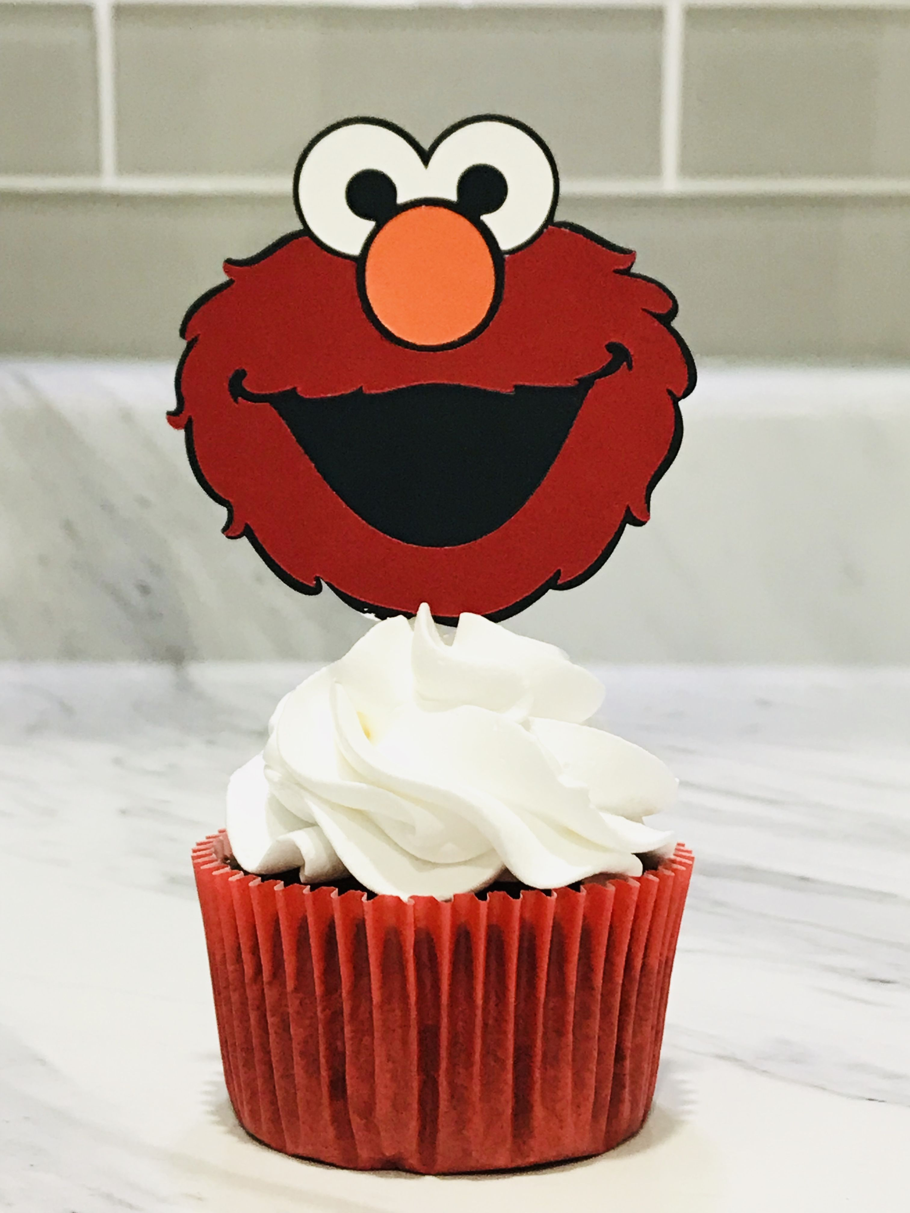 Elmo cupcake topper party picks sesame street elmo