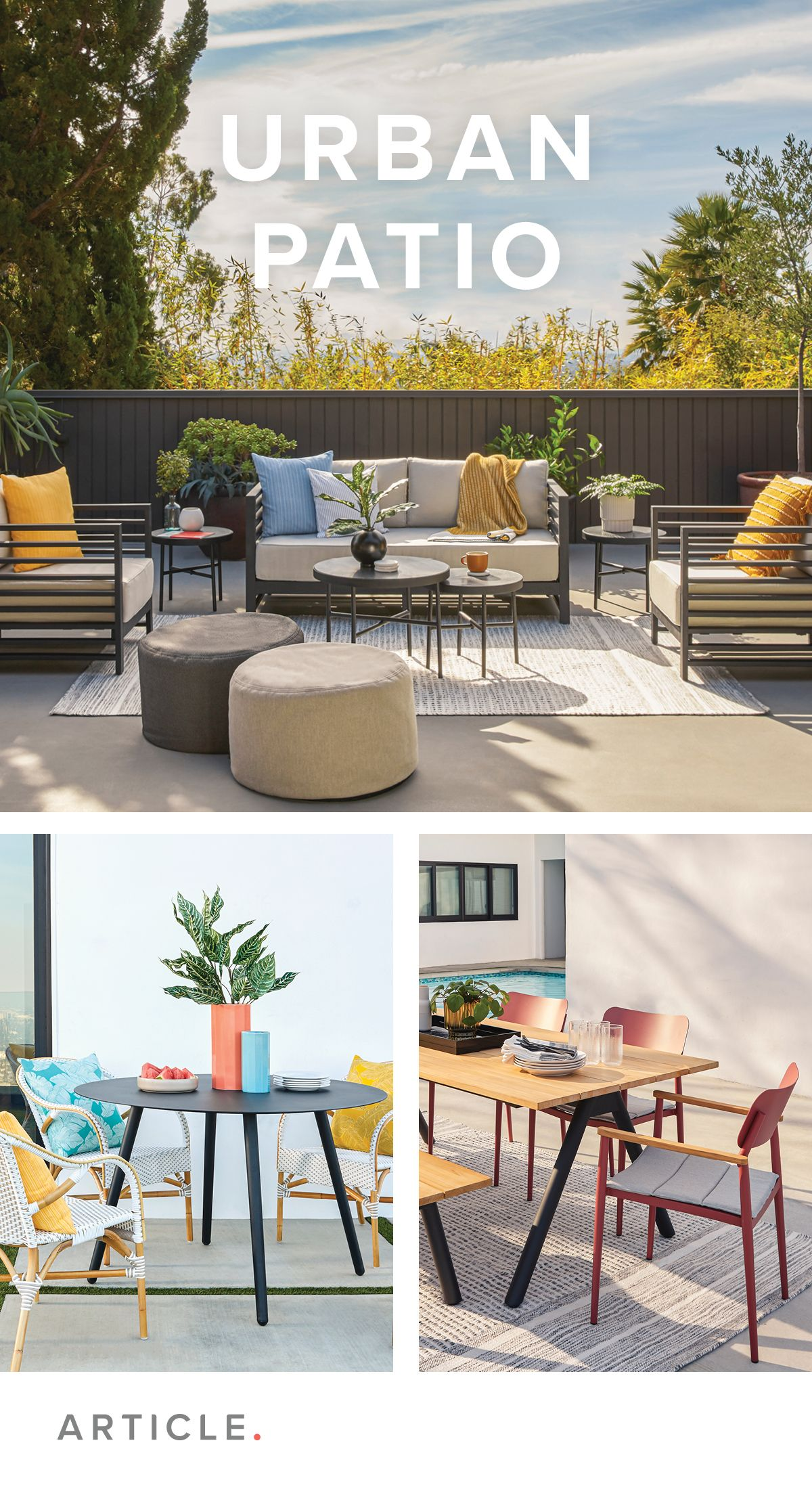 Clean Lines Industrial Materials And Pops Of Bold Color Make An Impact With Minimal Simplicity In 2020 Poolside Decor Outdoor Furniture Sets Patio Design