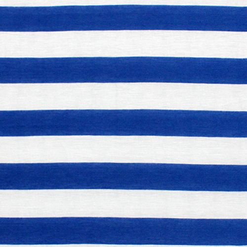 Royal Blue And White Stripe Cotton Jersey Blend Knit Fabric True Color Poly Rayon
