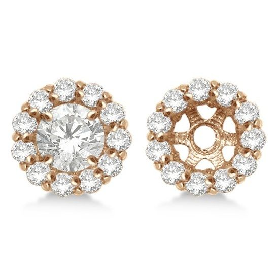 0.90ct Round Diamond Earring Jackets for 7mm Studs 14K Rose, Yellow or White Gold