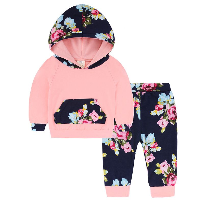 Baby Girls Toddler Autumn Clothes Outfit Set Floral Hoodies Tops Pants Tracksuit