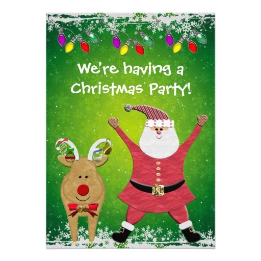 Cute Santa and Rudolph Christmas Party Invites