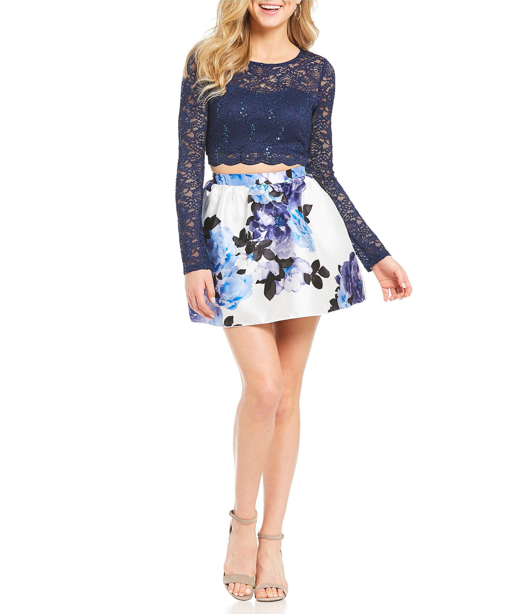 Adrianna papell beaded lace illusion gown homecoming dresses