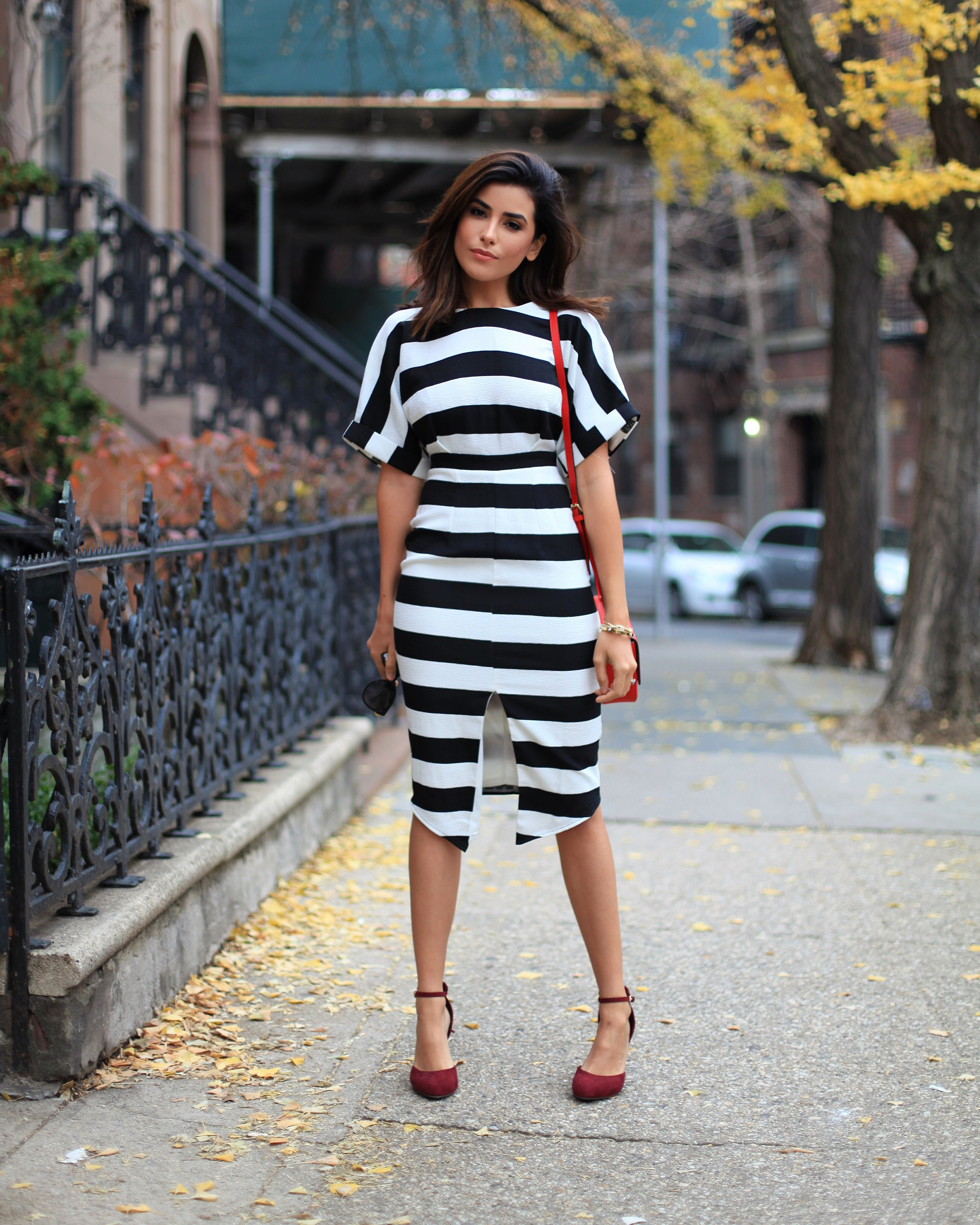 Navy and white striped dress asos