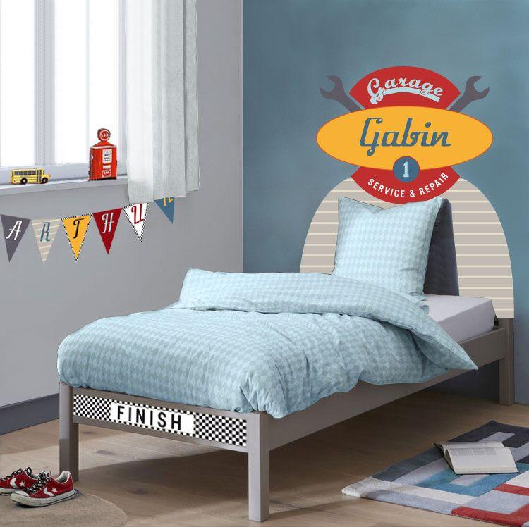 Habillez le lit de votre garçon avec cette tête de lit en ...