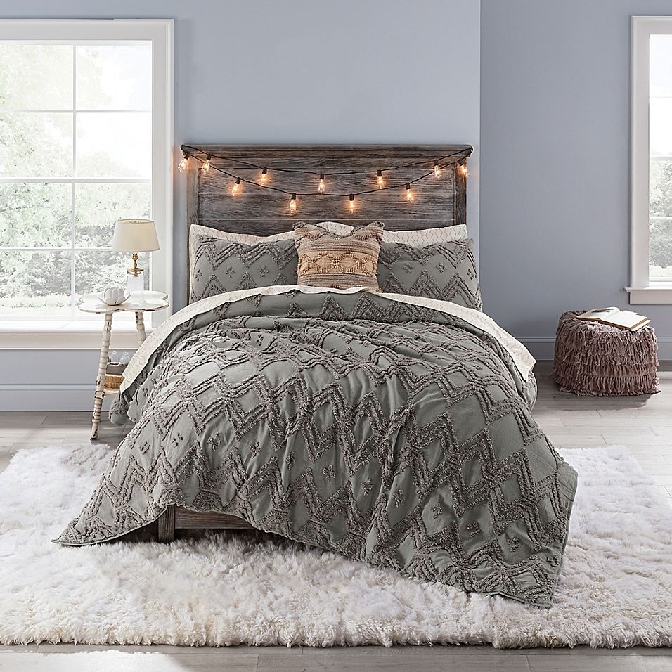 Anthology Chevron Tufted Twin Twin Xl Comforter Set In Grey In