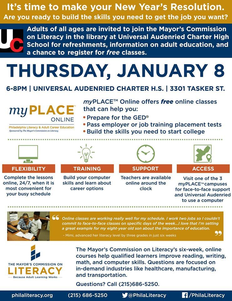 Join us at Universal Audenried Charter High School on January 8, 6:00-