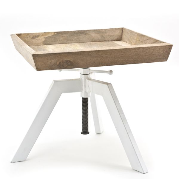 Vintage Beistelltisch 50 X 50 Cm Metall Holz Hohenverstellbar Weiss Braun Vintage Beistelltische Beistelltisch Hohenverstellbar Tisch Hohenverstellbar