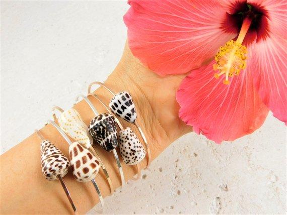 Hawaiian Shell Bangles Beach Seashell Bracelet Cone Bangle Silver