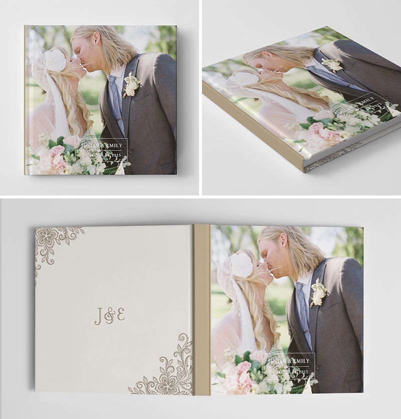 Wedding album book cover template for photographers for Wedding photo album templates in photoshop