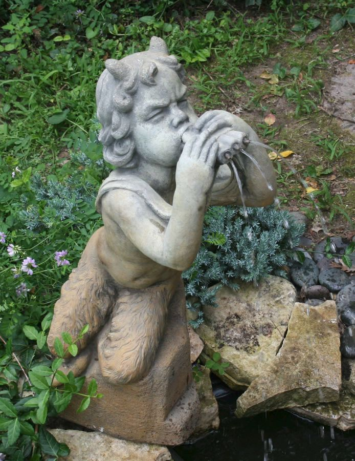 Awesome Pan Garden Statue Fountain A Great Way To Make The Landscaping More  Appealing
