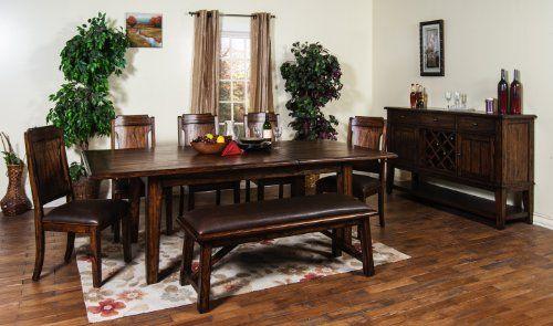 Sunny Designs Safari Extension Dining Table Saddle Brown Finish