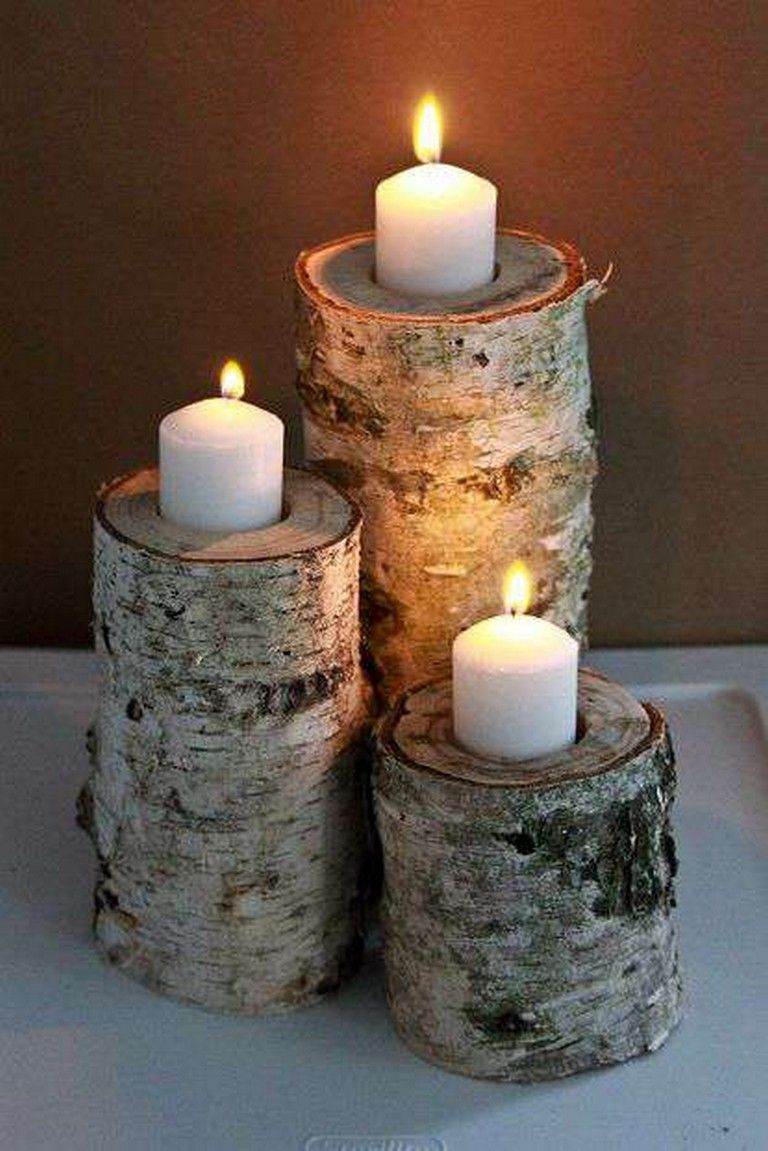 8 Most Lovely Christmas Candle Decoration Ideas To Try Diy Candle Holders Diy Candles Log Candle Holders