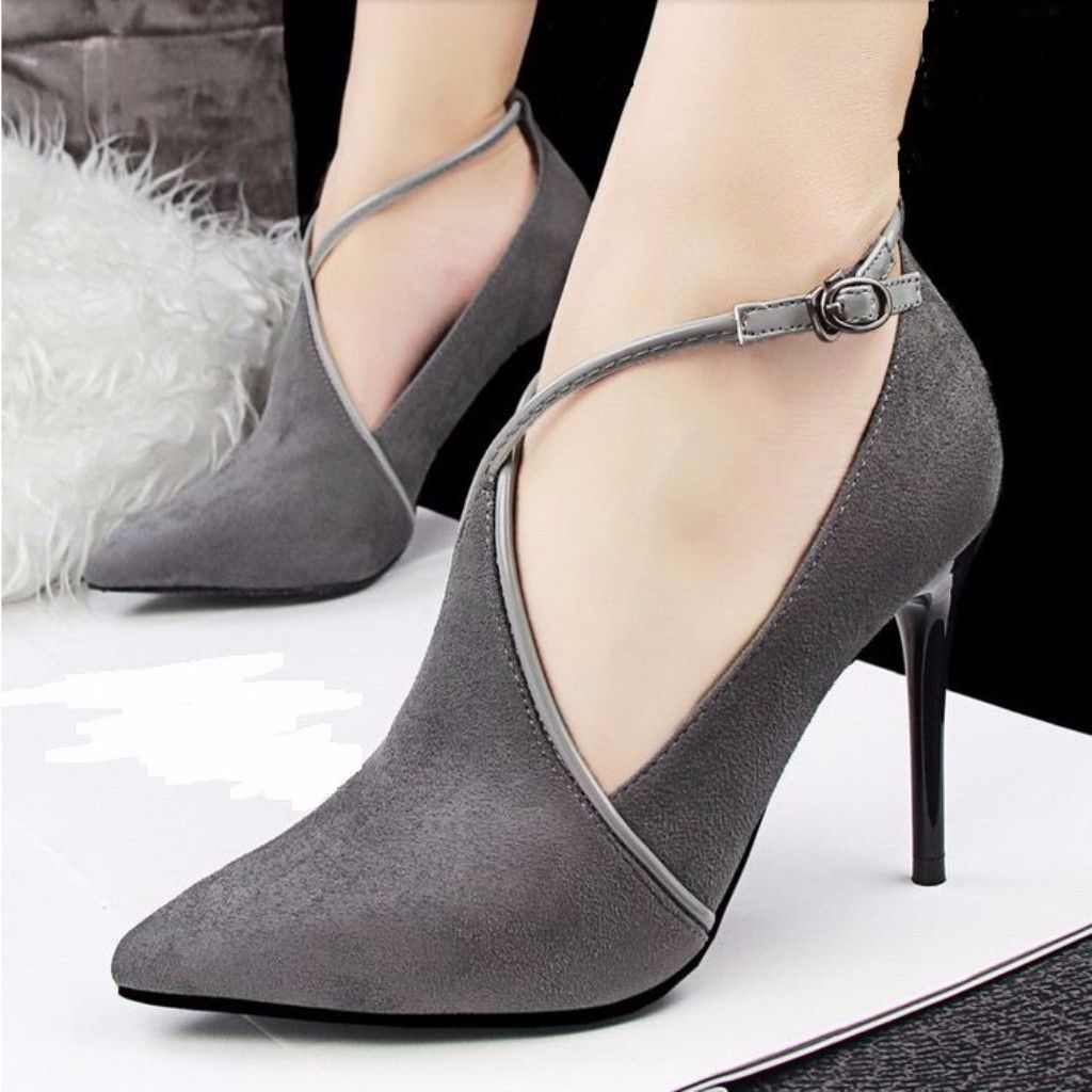 Women's Elegant Suede Cross Strap Thin Shoes Pointed High Heels